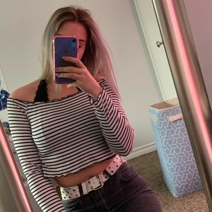 H&M Striped Off The Shoulder Cropped Top